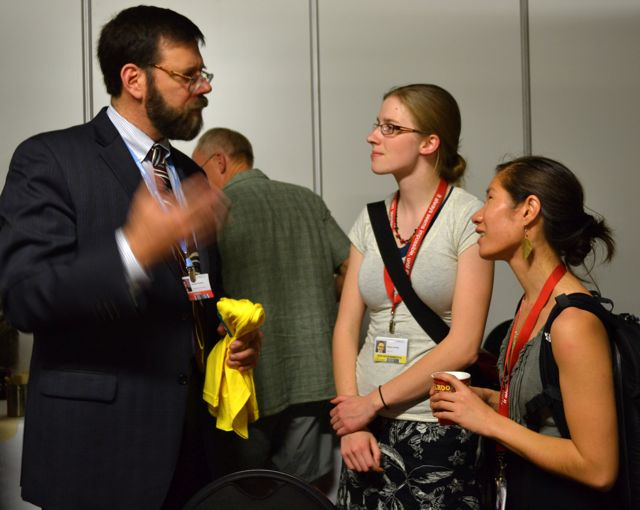 Ellie speaking with Jonathan Pershing at COP17